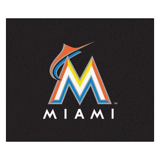 Fanmats Machine-Made Florida Marlins Black Nylon Tailgater Mat (5' x 6')