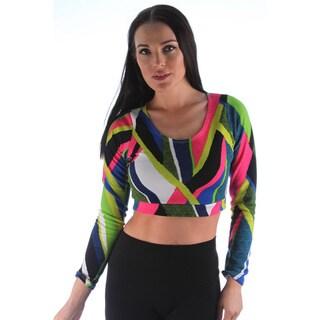 Ladies Long Sleeve Texture Fabric Crop Top