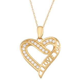 10K Gold Cubic Zirconia 'I Love You' Heart Pendant Necklace