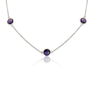Sterling Silver Briolette Purple Amethyst 24 Inch Station Necklace