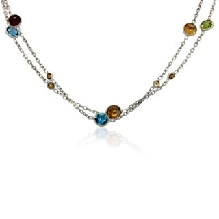 Sterling Silver Multicolored Gemstone Station Necklace