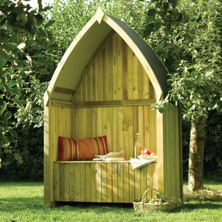 English Garden Wooden Boat Arbor with Seat