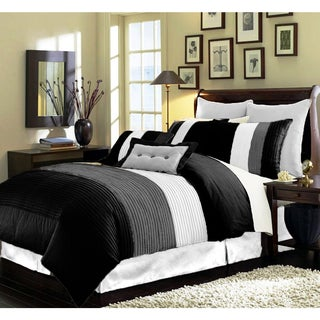 Modern Pleated Striped 8-piece Comforter Set