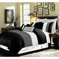 Modern Pleated Striped 8-piece Comforter Set