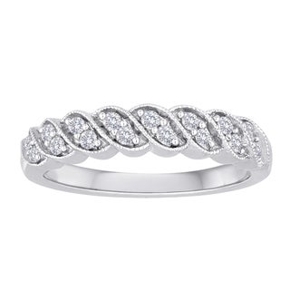 Sterling Silver 1/4ct TDW Pave Diamond Twisted Ring (I-J, I2-I3)