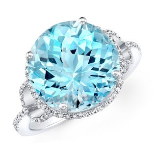 14k White Gold Round-cut Gemstone 1/4ct TDW Diamond Cocktail Ring (I-J, I1-I2)