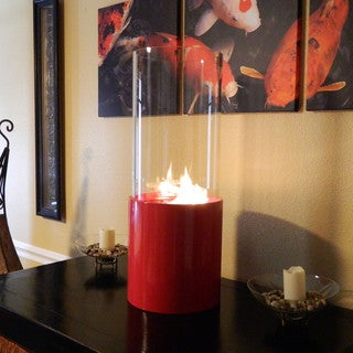 Doppio Rouge Cylinder Tabletop Fireplace