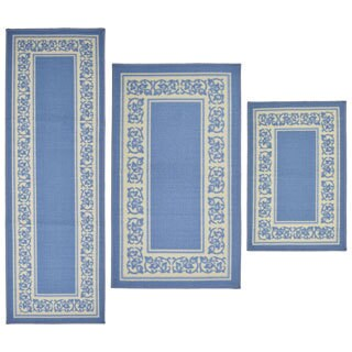Floral Border 3-piece Rug Set
