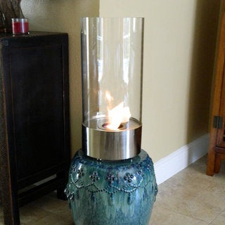 Cristallo Polished Stainless Steel Cylinder Tabletop Fireplace