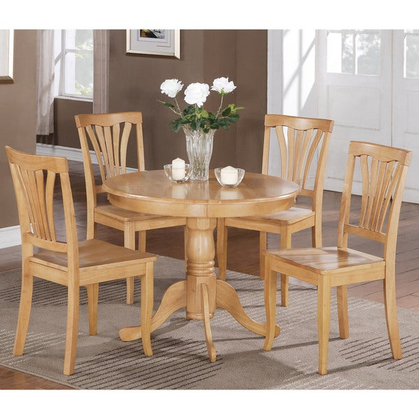 Oak Kitchen Table Chairs: 5-piece Round Oak Kitchen Table Set