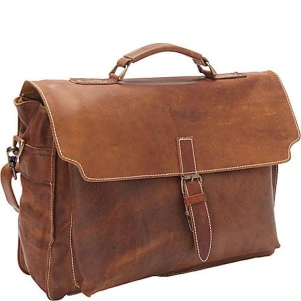 bd2d8b07e68e Shop Sharo Soft Brown Leather 16-inch Laptop Messenger Briefcase ...