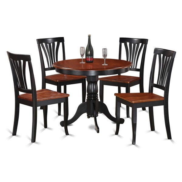 Merveilleux 5 Piece Round Black And Cherry Kitchen Table Set