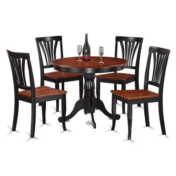 Shop 5-piece Round Black and Cherry Kitchen Table Set - Free ...
