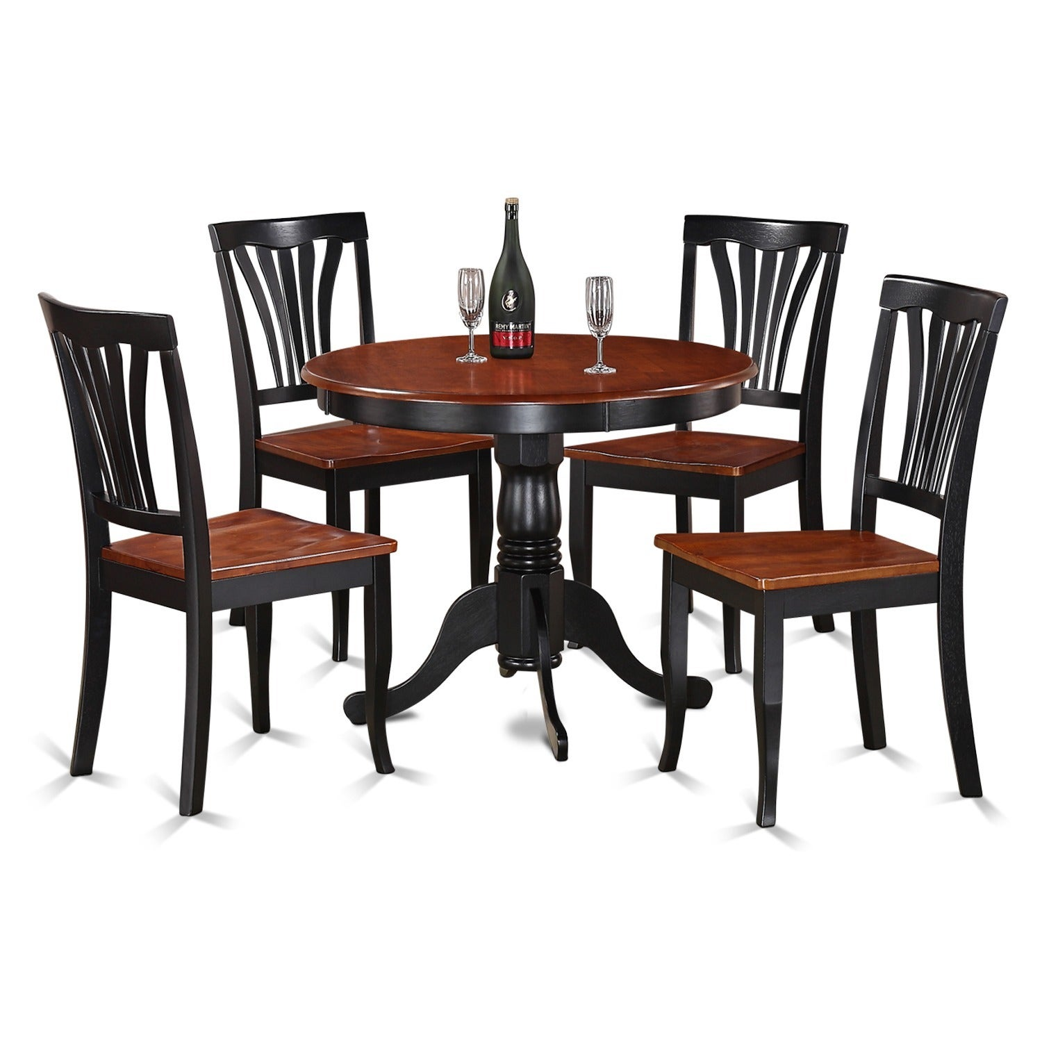 5-piece Round Black and Cherry Kitchen Table Set (5 Piece...
