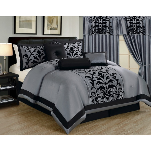 7 piece faux silk luxury embroidered damask comforter collection assorted colors 296fa1d7 f0ad 4d39 8acb d4fbeb561f0f 600