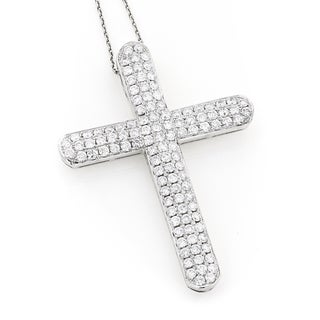 Luxurman 14k Gold 4ct TDW Diamond Cross Pendant