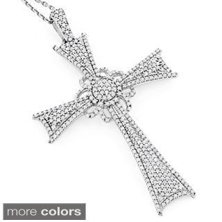 Luxurman 14k White or Rose Gold 1 1/3ct TDW Diamond Cross Pendant (H-I, SI1-SI2)