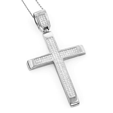 Luxurman 14k White or Rose Gold 3 2/3ct TDW Invisible Set Princess-cut Diamond Cross Pendant