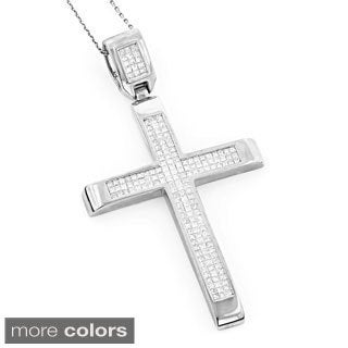 Luxurman 14k White or Rose Gold 3 2/3ct TDW Invisible Set Princess-cut Diamond Cross Pendant (G-H, S1-SI2)
