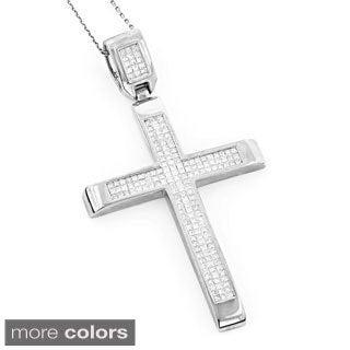 Luxurman 14k White or Rose Gold 3 2/3ct TDW Invisible Set Princess-cut Diamond Cross Pendant