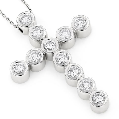 Luxurman 14k Gold 2 3/4ct TDW Round Diamond Cross Pendant