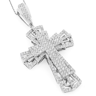 Luxurman 14k Gold 3 3/4ct TDW Diamond Cross Pendant (G-H, SI1-SI2)
