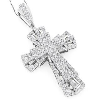 Luxurman 14k Gold 3 3/4ct TDW Diamond Cross Pendant