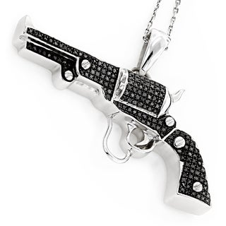 Luxurman Sterling Silver 1ct TDW Black Diamond Gun Pendant