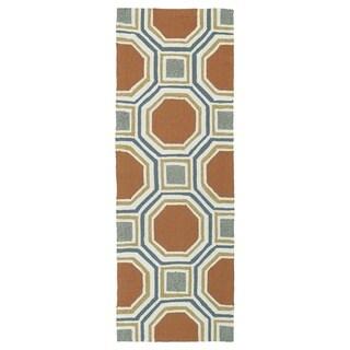 Indoor/Outdoor Handmade Getaway Orange Rug (2'0 x 6'0) - 2' x 6'