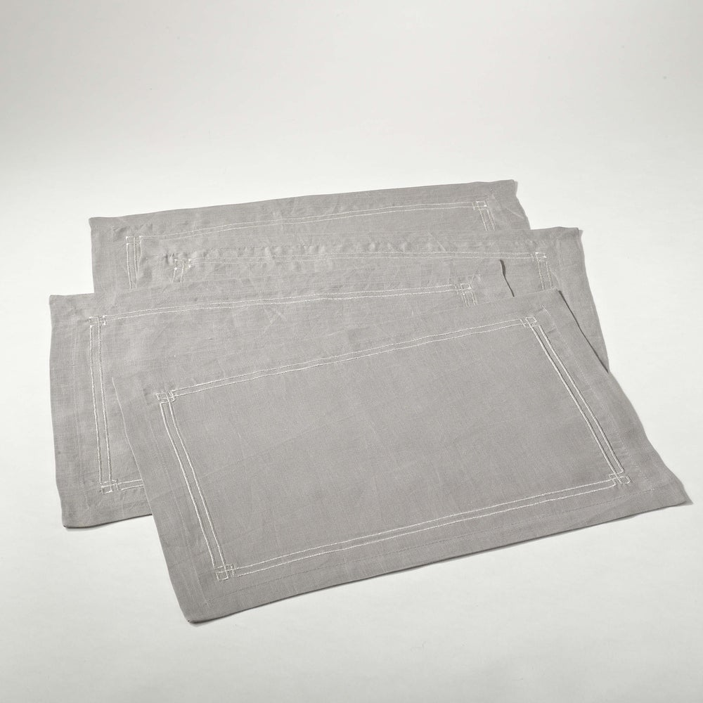 Shop Embroidered Border Linen Placement (Set of 4) - Overstock - 10106109