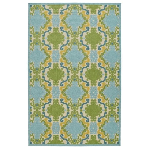 Indoor/Outdoor Luka Blue Damask Rug (7'10 x 10'8) - 7'10 x 10'8