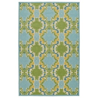 Indoor/Outdoor Luka Blue Damask Rug - 3'10 x 5'7