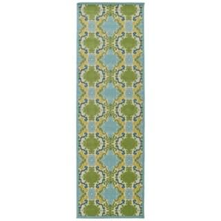 Indoor/Outdoor Luka Blue Damask Rug (2'6 x 7'10)