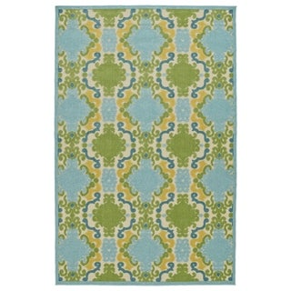 "Indoor/Outdoor Luka Blue Damask Rug - 2'1"" x 4'"
