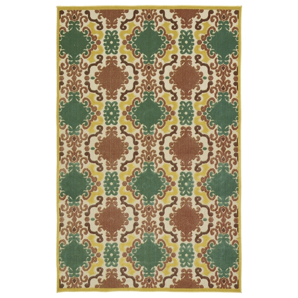 "Indoor/Outdoor Luka Gold Damask Rug - 8'8"" x 12'"