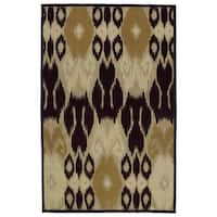 Indoor/Outdoor Luka Brown Ikat Rug - 7'10 x 10'8