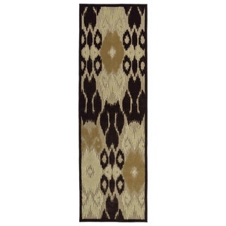 Indoor/Outdoor Luka Brown Ikat Rug (2'6 x 7'10)