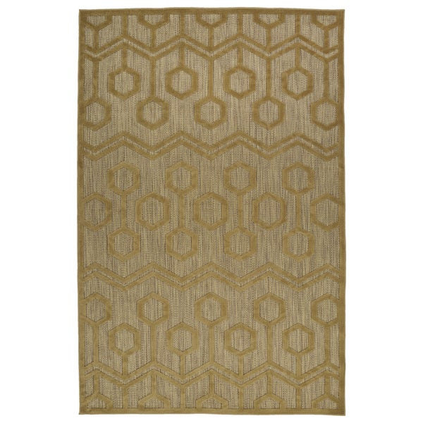 Indoor/Outdoor Luka Light Brown Zig-Zag Rug - 7'10 x 10'8