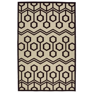 Indoor/Outdoor Luka Brown Zig-Zag Rug (8'8 x 12'0)