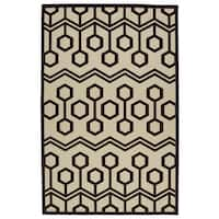 "Indoor/Outdoor Luka Brown Zig-Zag Rug - 8'8"" x 12'"