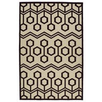 Indoor/Outdoor Luka Brown Zig-Zag Rug - 7'10 x 10'8