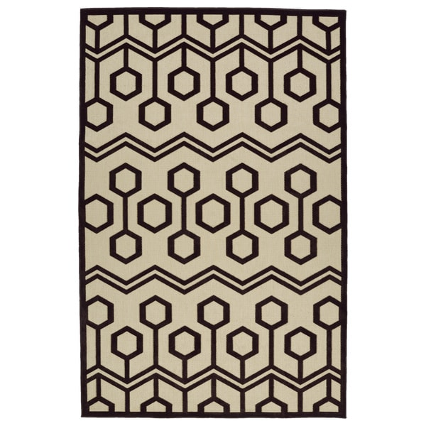 "Indoor/Outdoor Luka Brown Zig-Zag Rug - 2'1"" x 4'"