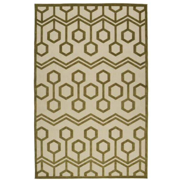 Indoor/Outdoor Luka Olive Zig-Zag Rug - 7'10 x 10'8