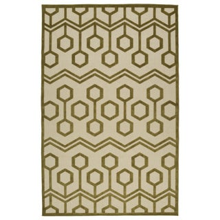 Indoor/Outdoor Luka Olive Zig-Zag Rug (5'0 x 7'6)