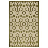 Indoor/Outdoor Luka Olive Zig-Zag Rug - 2' x 4'