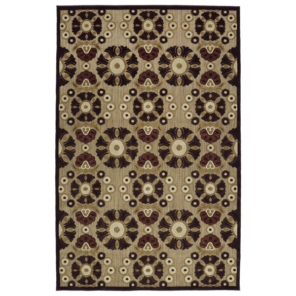 "Indoor/Outdoor Luka Brown Medallions Rug - 7'10"" x 10'8"""