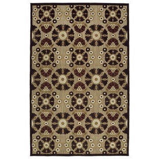 Indoor/Outdoor Luka Brown Medallions Rug - 3'10 x 5'8