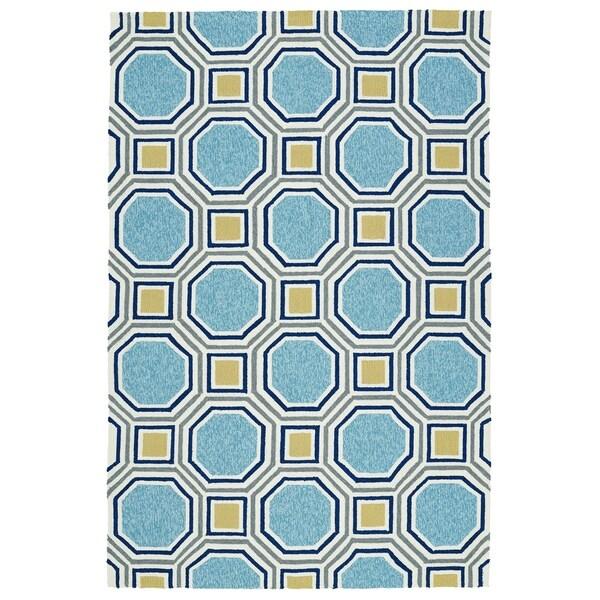 """Indoor/Outdoor Handmade Getaway Blue Rug (5'0 x 7'6) - 5' x 7'6"""""""