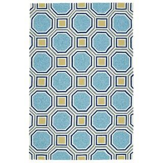 Indoor/Outdoor Handmade Getaway Blue Rug (4'0 x 6'0) - 4' x 6'