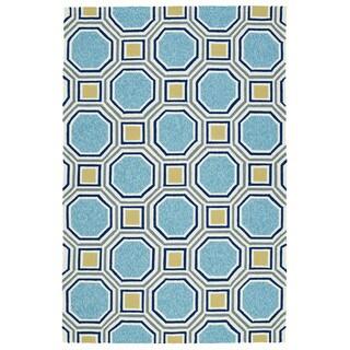 Indoor/Outdoor Handmade Getaway Blue Rug (4'0 x 6'0)